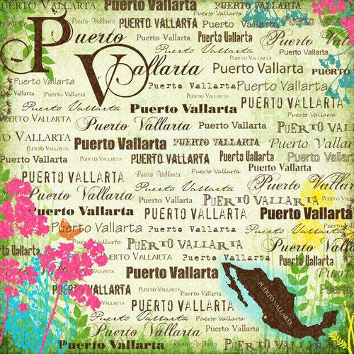 Scrapbook Customs - World Collection - Mexico - 12 x 12 Paper - Puerto Vallarta - Paradise