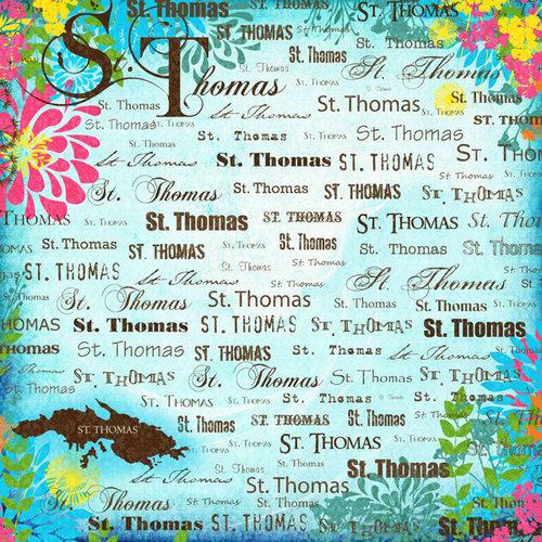 Scrapbook Customs - World Collection - Virgin Islands - 12 x 12 Paper - St. Thomas - Paradise