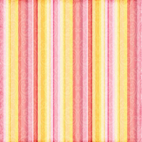 Scrapbook Customs - Travel Collection - 12 x 12 Paper - Paradise - Orange Stripe