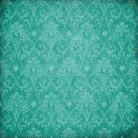 Scrapbook Customs - Travel Collection - 12 x 12 Paper - Paradise - Teal Flourish