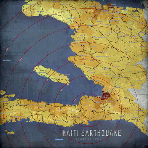 Scrapbook Customs - World Collection - Haiti - 12 x 12 Paper - Earthquake