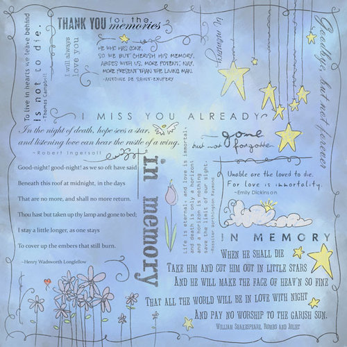 Scrapbook Customs - Religious Collection - 12 x 12 Paper - Quotes - In Memory