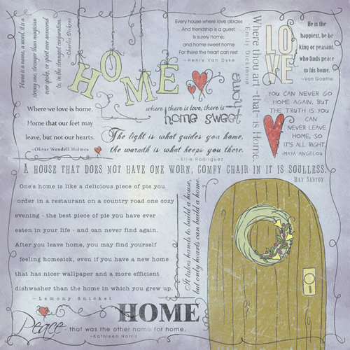 Scrapbook Customs - Religious Collection - 12 x 12 Paper - Quotes - Home