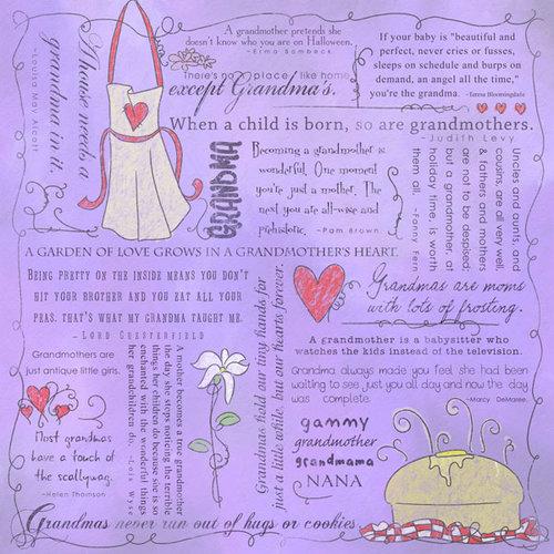 Scrapbook Customs - Religious Collection - 12 x 12 Paper - Quotes - Grandma