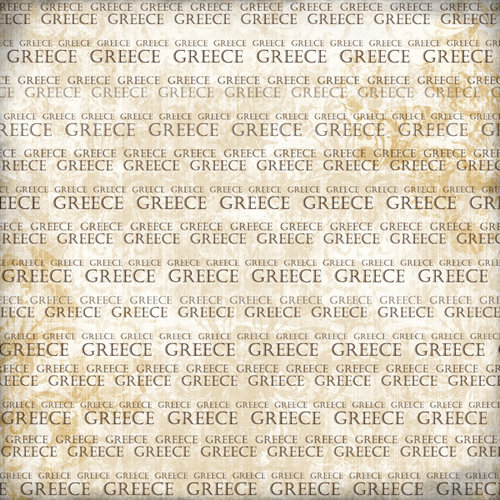 Scrapbook Customs - World Collection - Greece - 12 x 12 Paper - Explore Cream