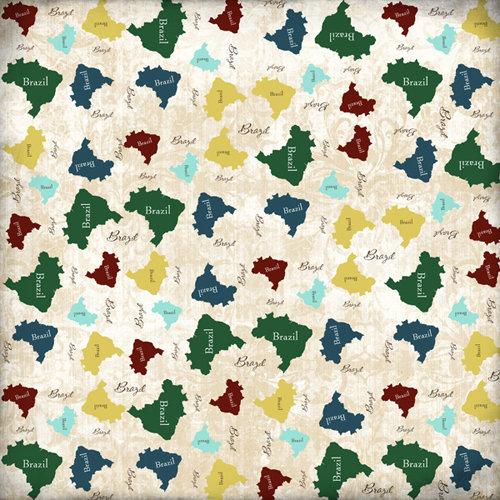 Scrapbook Customs - World Collection - Brazil - 12 x 12 Paper - Explore Country Shape