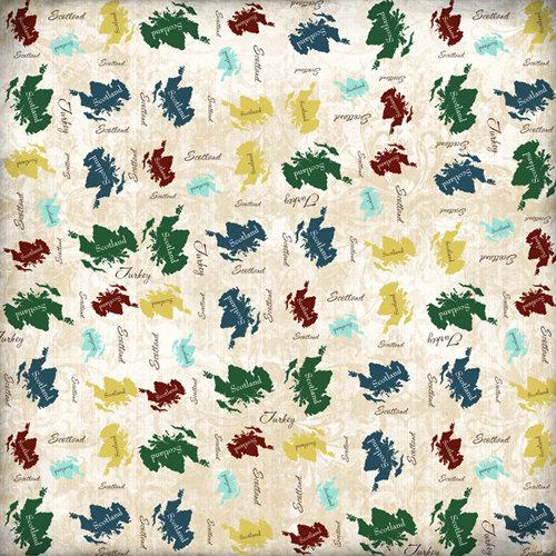 Scrapbook Customs - World Collection - Scotland - 12 x 12 Paper - Explore Country Shape