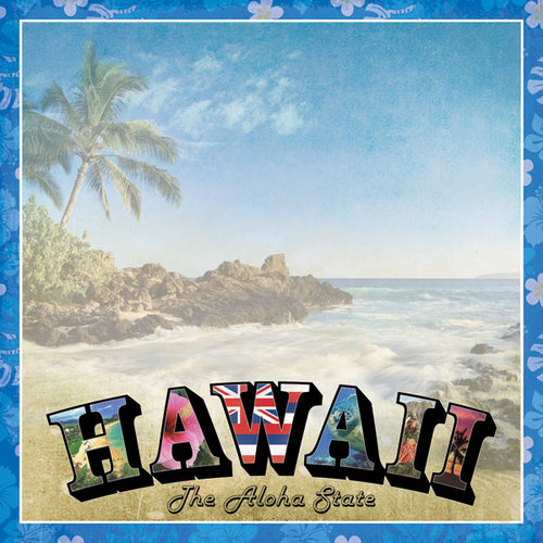 Scrapbook Customs - Vintage Label Collection - 12 x 12 Paper - Hawaii Vintage