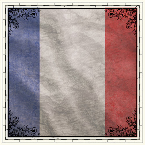 Scrapbook Customs - 12 x 12 Paper - France Sightseeing Flag