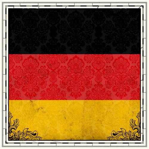 Scrapbook Customs - 12 x 12 Paper - Germany Sightseeing Flag