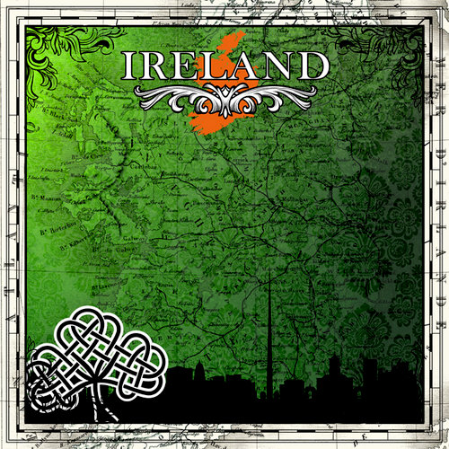 Scrapbook Customs - 12 x 12 Paper - Ireland Sightseeing