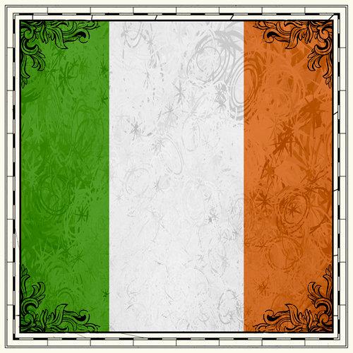 Scrapbook Customs - 12 x 12 Paper - Ireland Sightseeing Flag