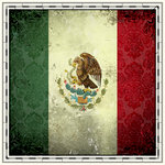 Scrapbook Customs - 12 x 12 Paper - Mexico Sightseeing Flag
