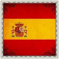 Scrapbook Customs - 12 x 12 Paper - Spain Sightseeing Flag