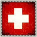 Scrapbook Customs - 12 x 12 Paper - Switzerland Sightseeing Flag