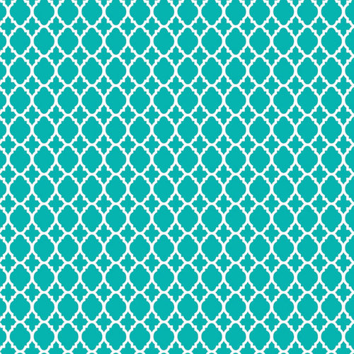 Scrapbook Customs - 12 x 12 Paper - Teal Quatrefoil