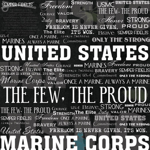 Scrapbook Customs - United States Military Collection - 12 x 12 Paper - Marine Live For