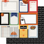 Scrapbook Customs - Sports Pride Collection - 12 x 12 Double Sided Paper - Basketball - Journal