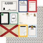 Scrapbook Customs - Vintage Travel Photo Journaling Collection - 12 x 12 Double Sided Paper - Alabama - Journal