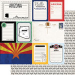 Scrapbook Customs - Vintage Travel Photo Journaling Collection - 12 x 12 Double Sided Paper - Arizona - Journal
