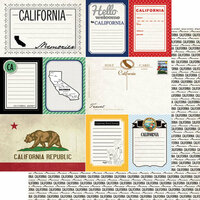 Scrapbook Customs - Vintage Travel Photo Journaling Collection - 12 x 12 Double Sided Paper - California - Journal