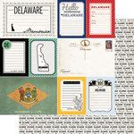 Scrapbook Customs - Vintage Travel Photo Journaling Collection - 12 x 12 Double Sided Paper - Delaware - Journal