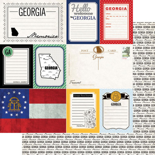 Scrapbook Customs - Vintage Travel Photo Journaling Collection - 12 x 12 Double Sided Paper - Georgia - Journal