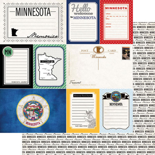 Scrapbook Customs - Vintage Travel Photo Journaling Collection - 12 x 12 Double Sided Paper - Minnesota - Journal