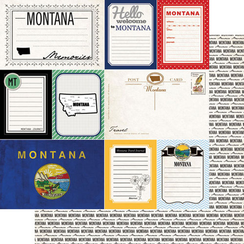 Scrapbook Customs - Vintage Travel Photo Journaling Collection - 12 x 12 Double Sided Paper - Montana - Journal