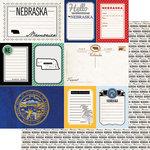 Scrapbook Customs - Vintage Travel Photo Journaling Collection - 12 x 12 Double Sided Paper - Nebraska - Journal
