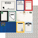Scrapbook Customs - Vintage Travel Photo Journaling Collection - 12 x 12 Double Sided Paper - Nevada - Journal
