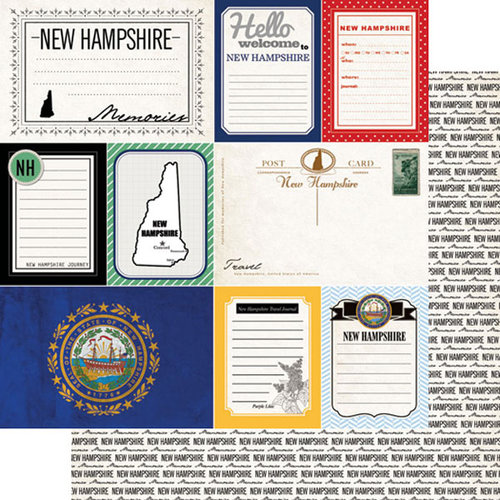Scrapbook Customs - Vintage Travel Photo Journaling Collection - 12 x 12 Double Sided Paper - New Hampshire - Journal