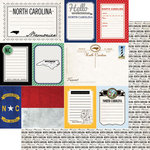 Scrapbook Customs - Vintage Travel Photo Journaling Collection - 12 x 12 Double Sided Paper - North Carolina - Journal