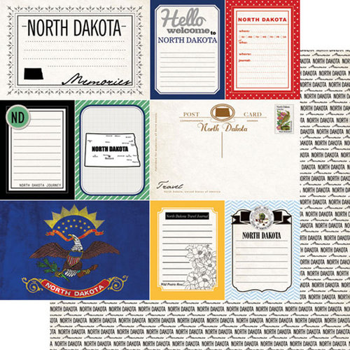 Scrapbook Customs - Vintage Travel Photo Journaling Collection - 12 x 12 Double Sided Paper - North Dakota - Journal