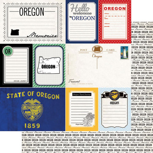 Scrapbook Customs - Vintage Travel Photo Journaling Collection - 12 x 12 Double Sided Paper - Oregon - Journal