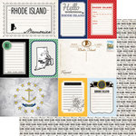 Scrapbook Customs - Vintage Travel Photo Journaling Collection - 12 x 12 Double Sided Paper - Rhode Island - Journal