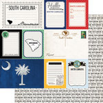 Scrapbook Customs - Vintage Travel Photo Journaling Collection - 12 x 12 Double Sided Paper - South Carolina - Journal