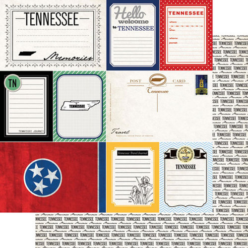 Scrapbook Customs - Vintage Travel Photo Journaling Collection - 12 x 12 Double Sided Paper - Tennessee - Journal