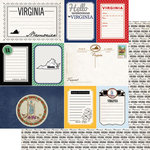 Scrapbook Customs - Vintage Travel Photo Journaling Collection - 12 x 12 Double Sided Paper - Virginia - Journal