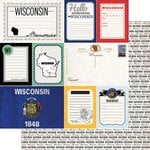 Scrapbook Customs - Vintage Travel Photo Journaling Collection - 12 x 12 Double Sided Paper - Wisconsin - Journal