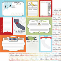 Scrapbook Customs - Travel Photo Journaling Collection - 12 x 12 Double Sided Paper - California - Journal