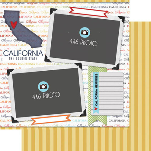 Scrapbook Customs - Travel Photo Journaling Collection - 12 x 12 Double Sided Paper - California - Quick Page Journal