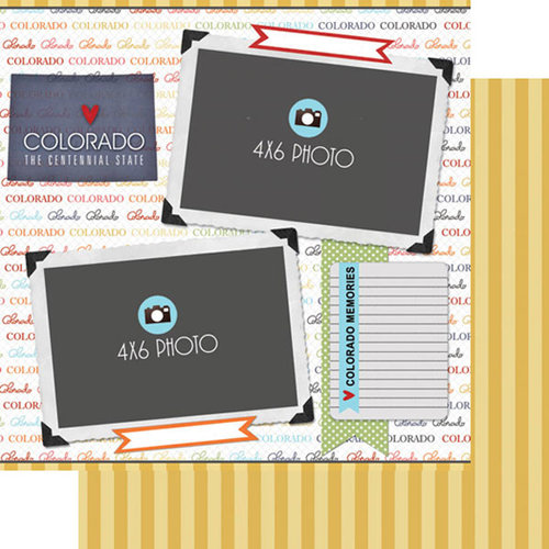 Scrapbook Customs - Travel Photo Journaling Collection - 12 x 12 Double Sided Paper - Colorado - Quick Page Journal