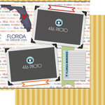 Scrapbook Customs - Travel Photo Journaling Collection - 12 x 12 Double Sided Paper - Florida - Quick Page Journal