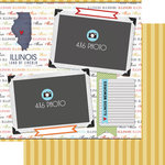 Scrapbook Customs - Travel Photo Journaling Collection - 12 x 12 Double Sided Paper - Illinois - Quick Page Journal