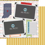 Scrapbook Customs - Travel Photo Journaling Collection - 12 x 12 Double Sided Paper - Indiana - Quick Page Journal