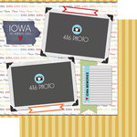 Scrapbook Customs - Travel Photo Journaling Collection - 12 x 12 Double Sided Paper - Iowa - Quick Page Journal