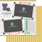 Scrapbook Customs - Travel Photo Journaling Collection - 12 x 12 Double Sided Paper - Louisiana - Quick Page Journal