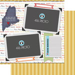 Scrapbook Customs - Travel Photo Journaling Collection - 12 x 12 Double Sided Paper - Maine - Quick Page Journal