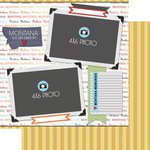 Scrapbook Customs - Travel Photo Journaling Collection - 12 x 12 Double Sided Paper - Montana - Quick Page Journal